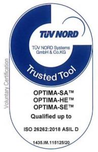 Optima's TUV Nord certification - stamp